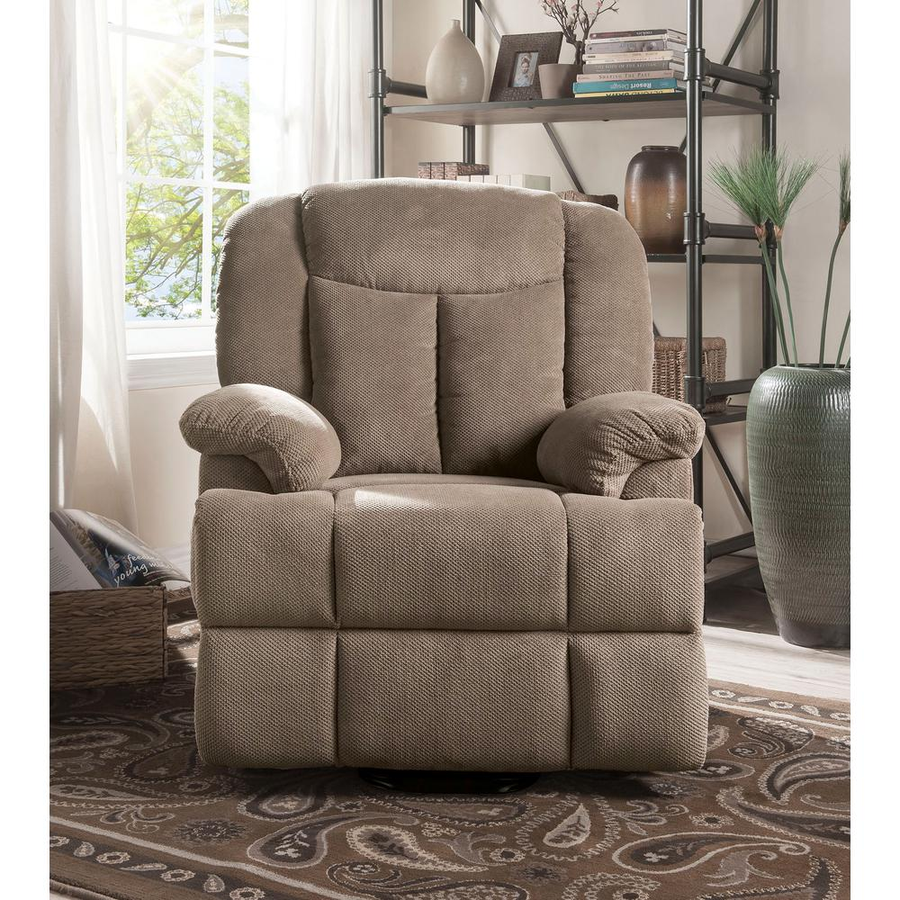 Ixia Recliner w/Power Lift & Massage, Light Brown Fabric. Picture 9
