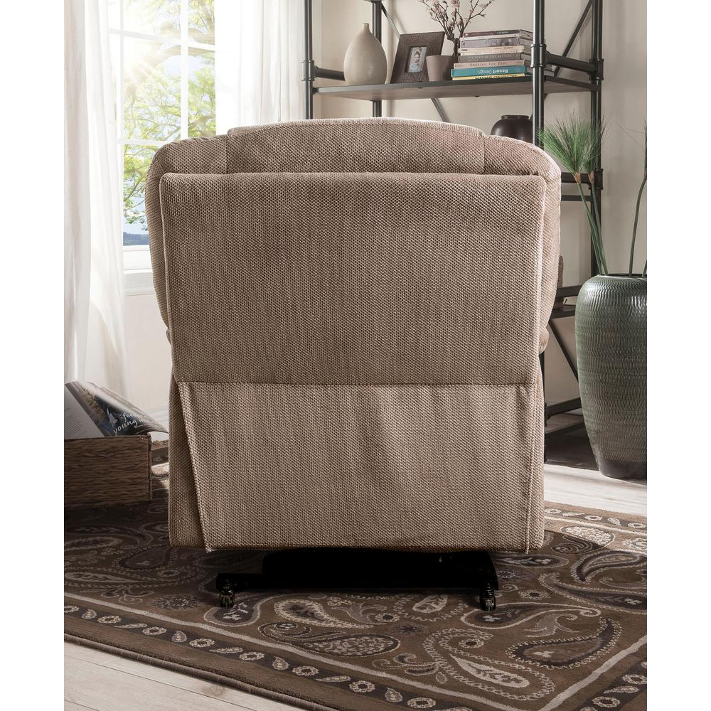 Ixia Recliner w/Power Lift & Massage, Light Brown Fabric. Picture 10