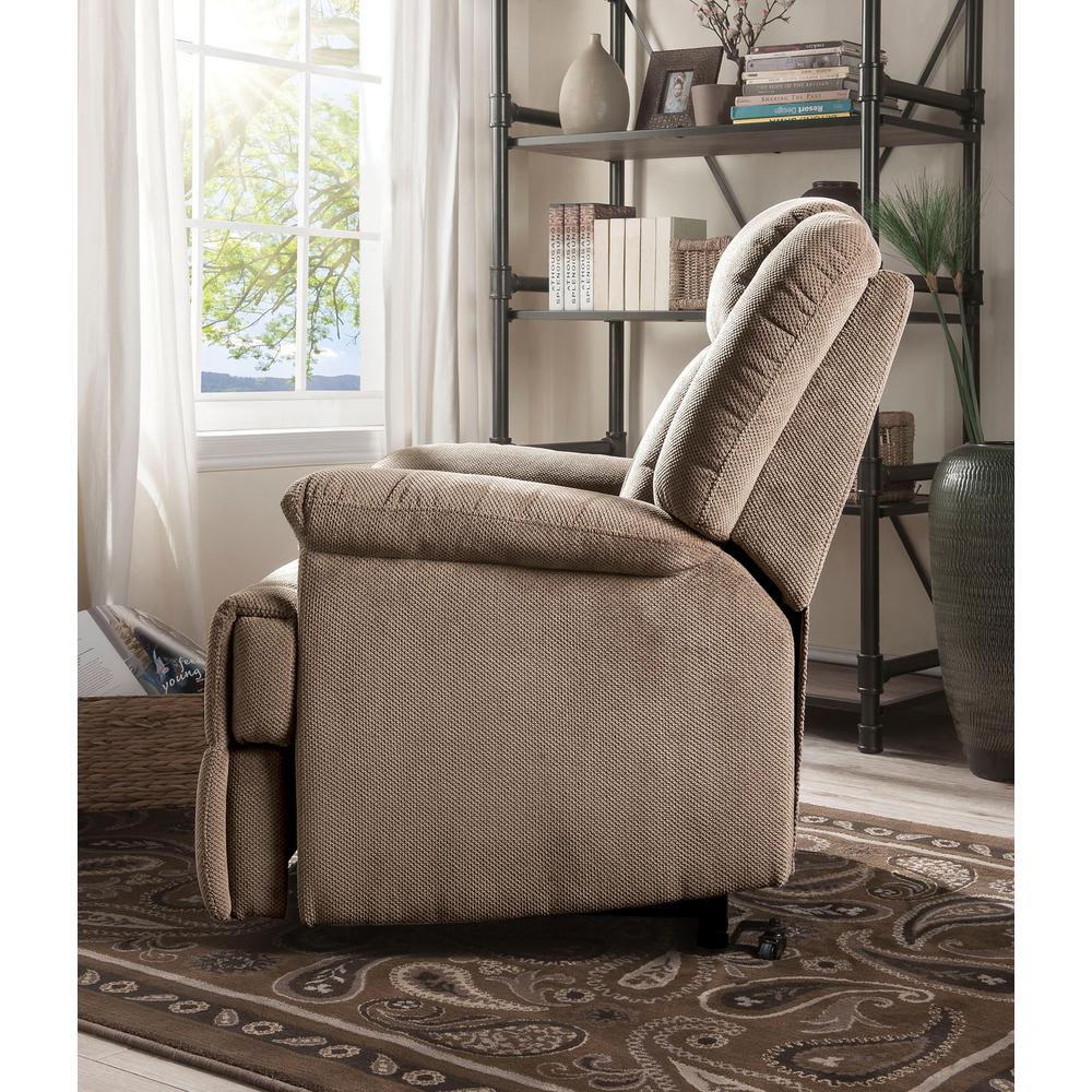 Ixia Recliner w/Power Lift & Massage, Light Brown Fabric. Picture 11