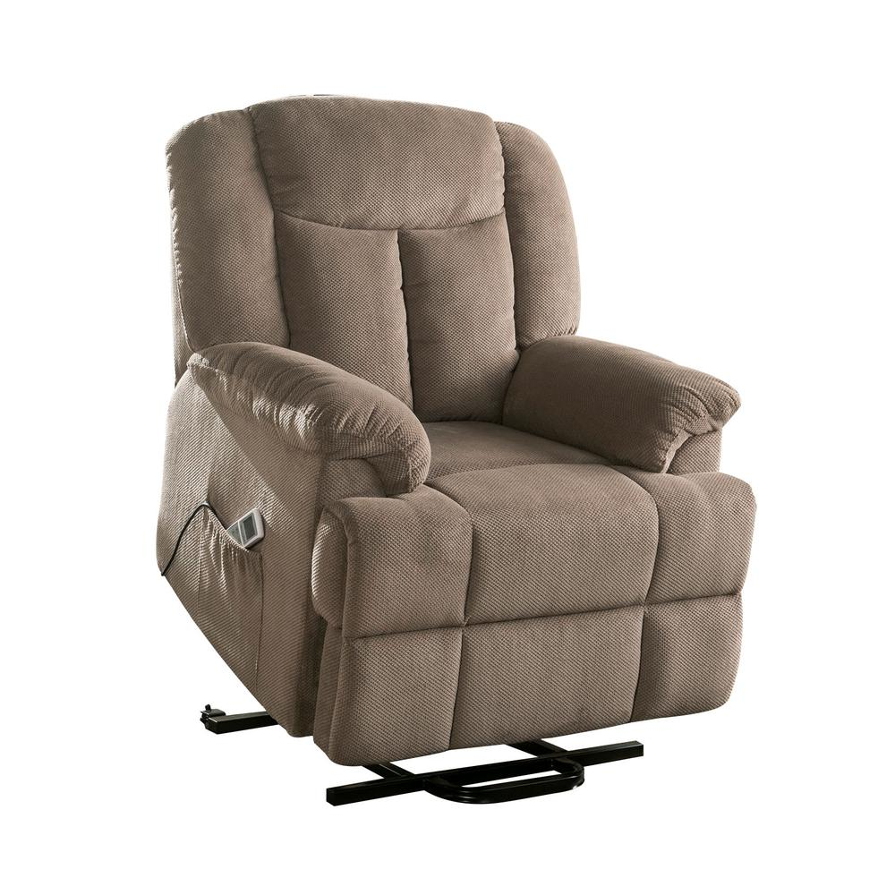 Ixia Recliner w/Power Lift & Massage, Light Brown Fabric. Picture 13