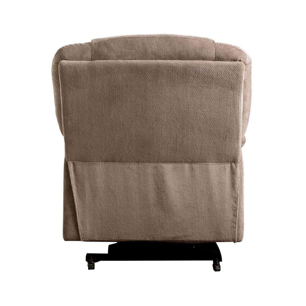 Ixia Recliner w/Power Lift & Massage, Light Brown Fabric. Picture 14