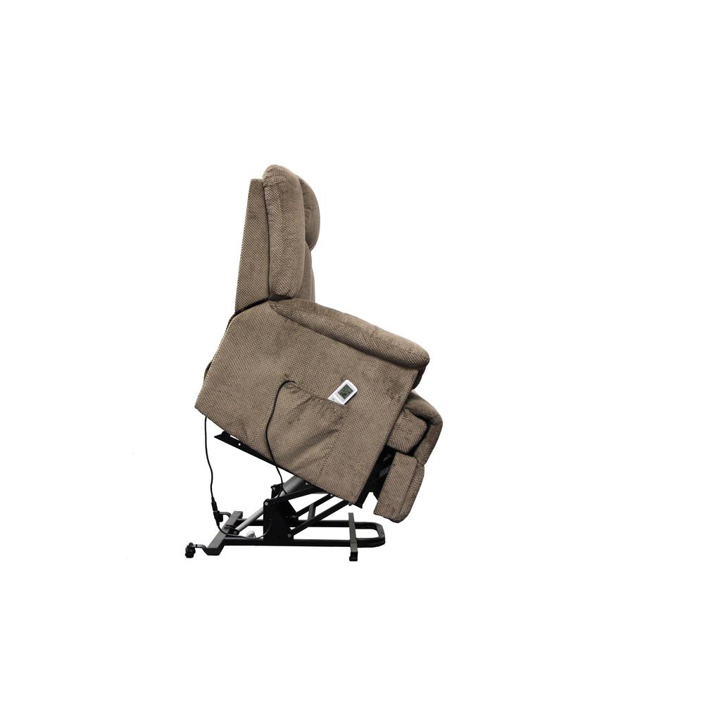 Ixia Recliner w/Power Lift & Massage, Light Brown Fabric. Picture 18