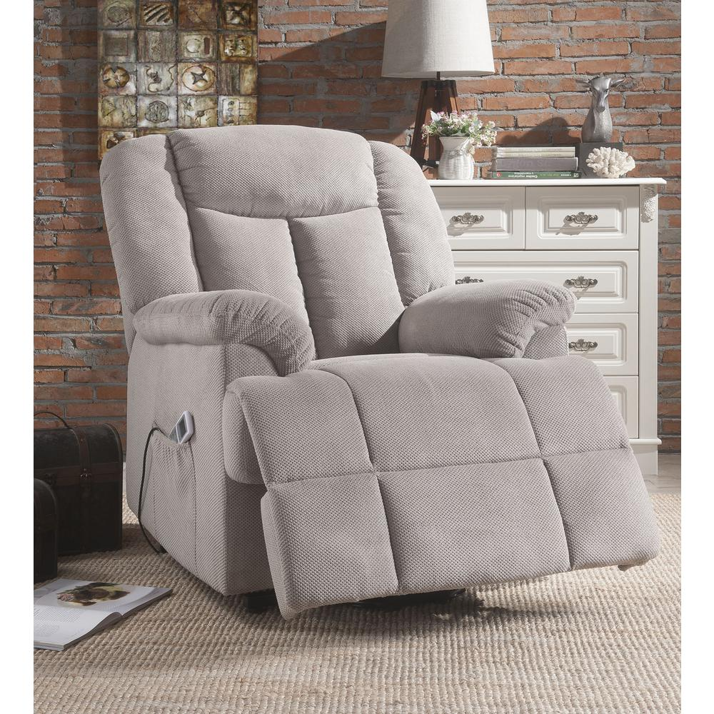 Ixia Recliner w/Power Lift & Massage, Light Brown Fabric. Picture 19
