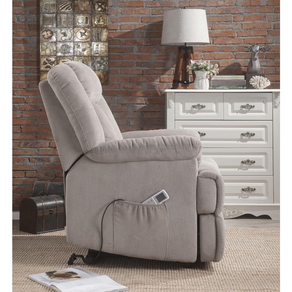 Ixia Recliner w/Power Lift & Massage, Light Brown Fabric. Picture 20