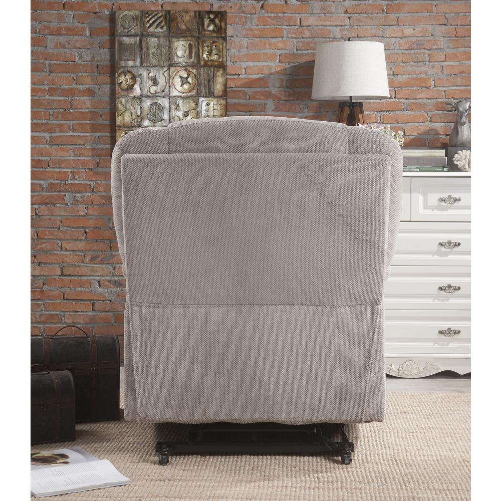 Ixia Recliner w/Power Lift & Massage, Light Brown Fabric. Picture 21