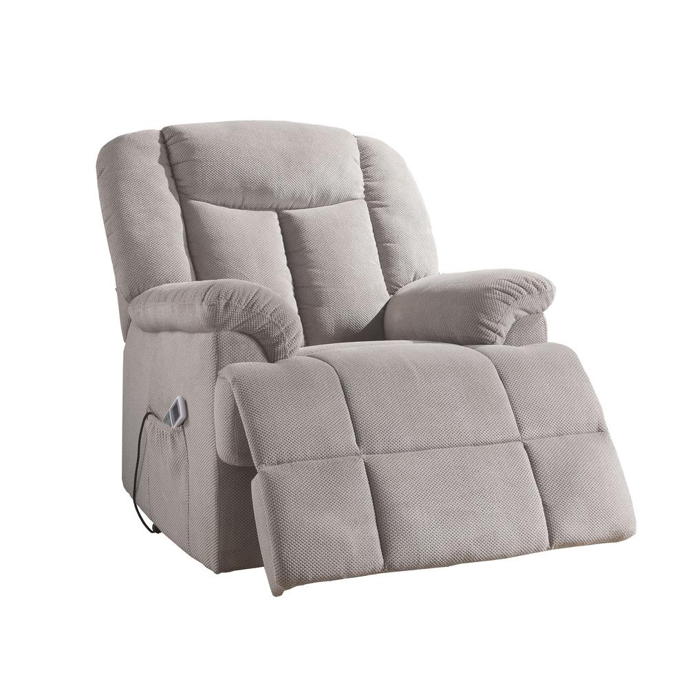 Ixia Recliner w/Power Lift & Massage, Light Brown Fabric. Picture 23