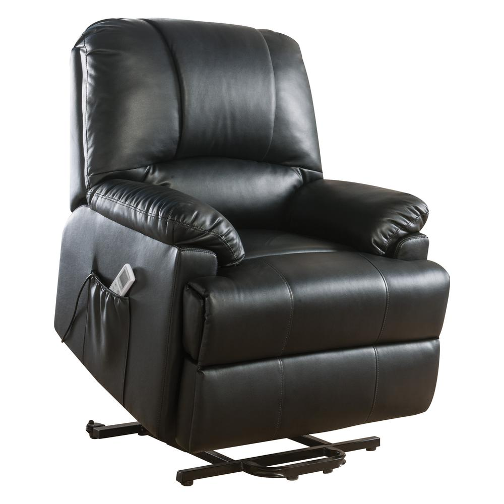 Ixora Recliner w/Power Lift & Massage, Black PU. Picture 5