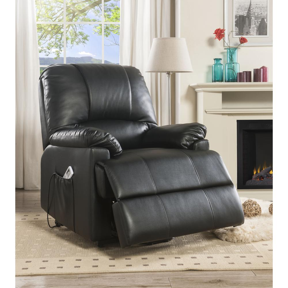 Ixora Recliner w/Power Lift & Massage, Black PU. Picture 6