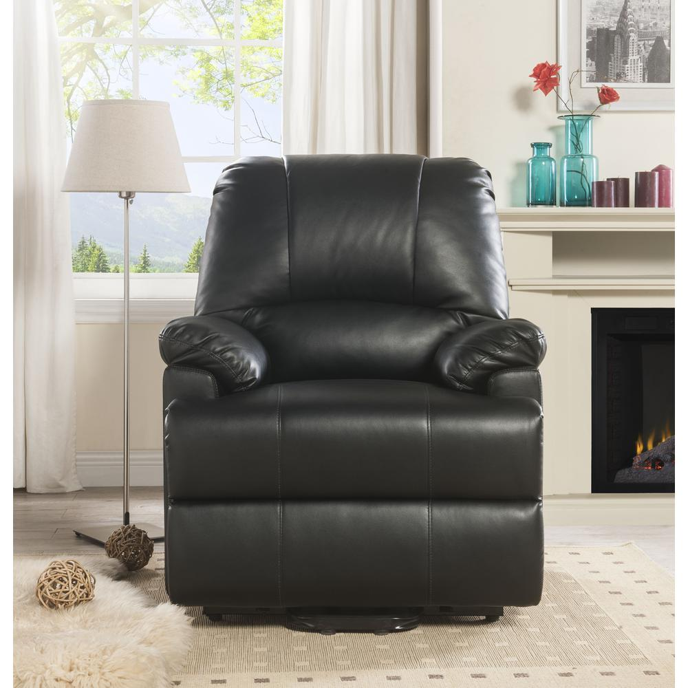 Ixora Recliner w/Power Lift & Massage, Black PU. Picture 8