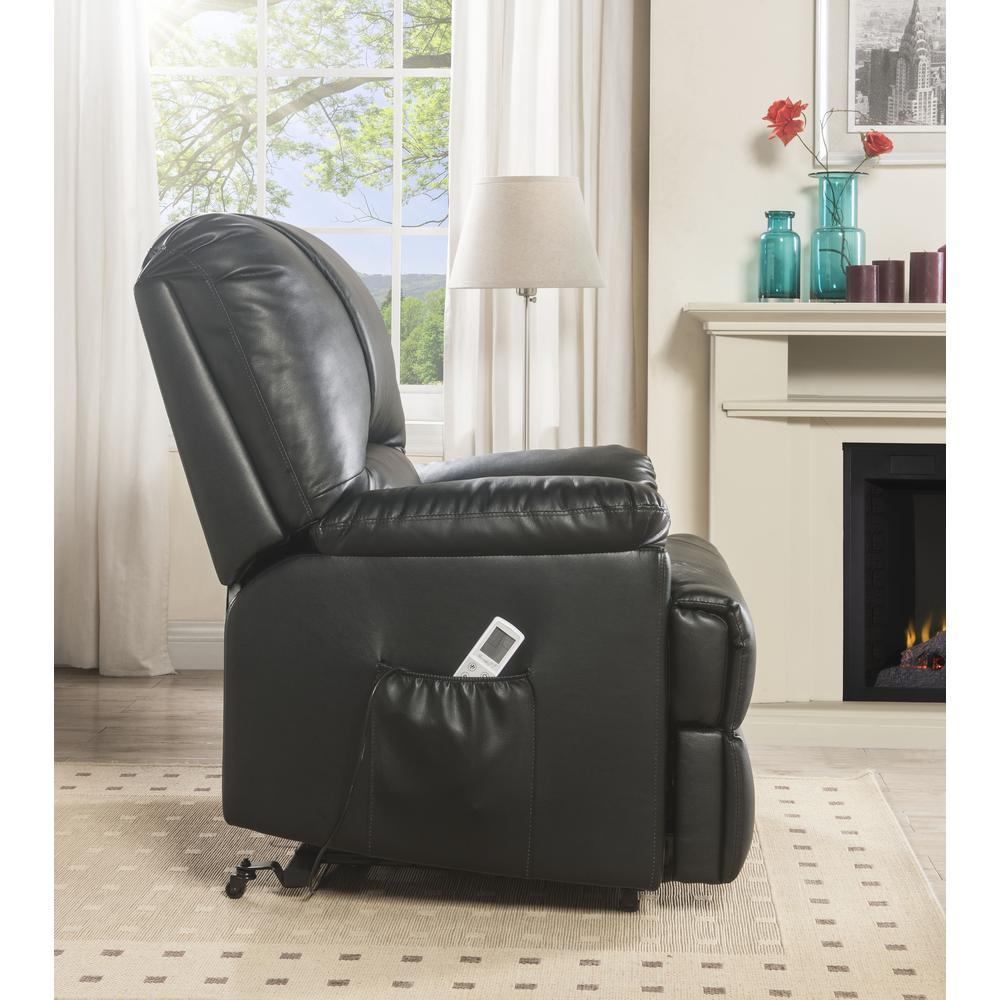 Ixora Recliner w/Power Lift & Massage, Black PU. Picture 9