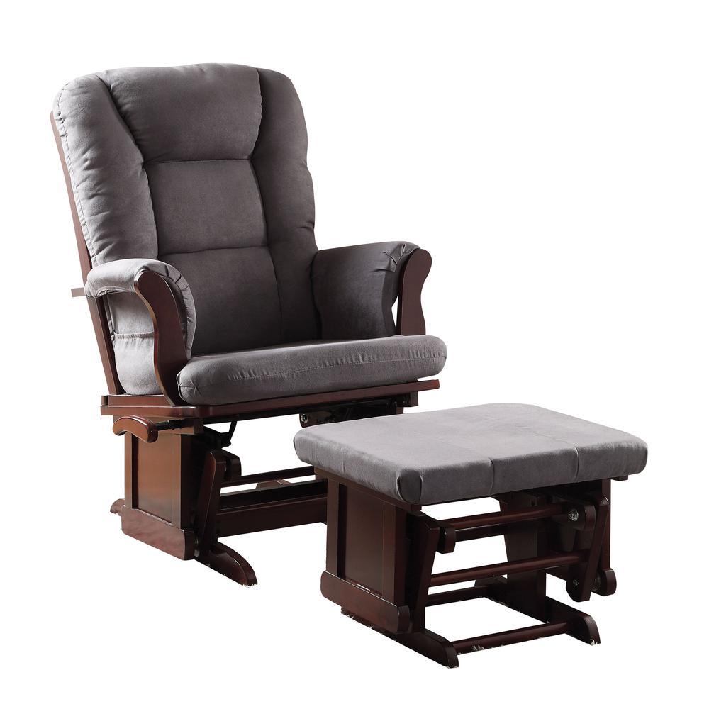 Aeron 2Pc Pack Glider Chair & Ottoman, Gray Microfiber & Cherry. Picture 1