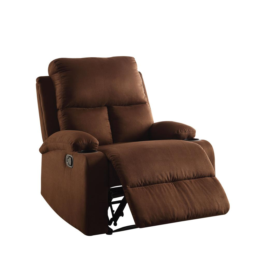 Rosia Recliner, Chocolate Microfiber. Picture 1