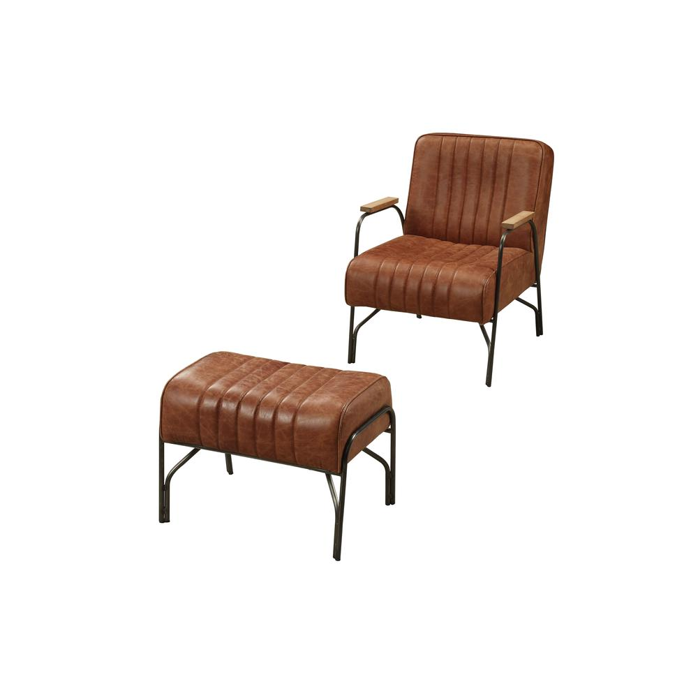 Sarahi 2Pc Pack Chair & Ottoman, Cocoa Top Grain Leather. Picture 1