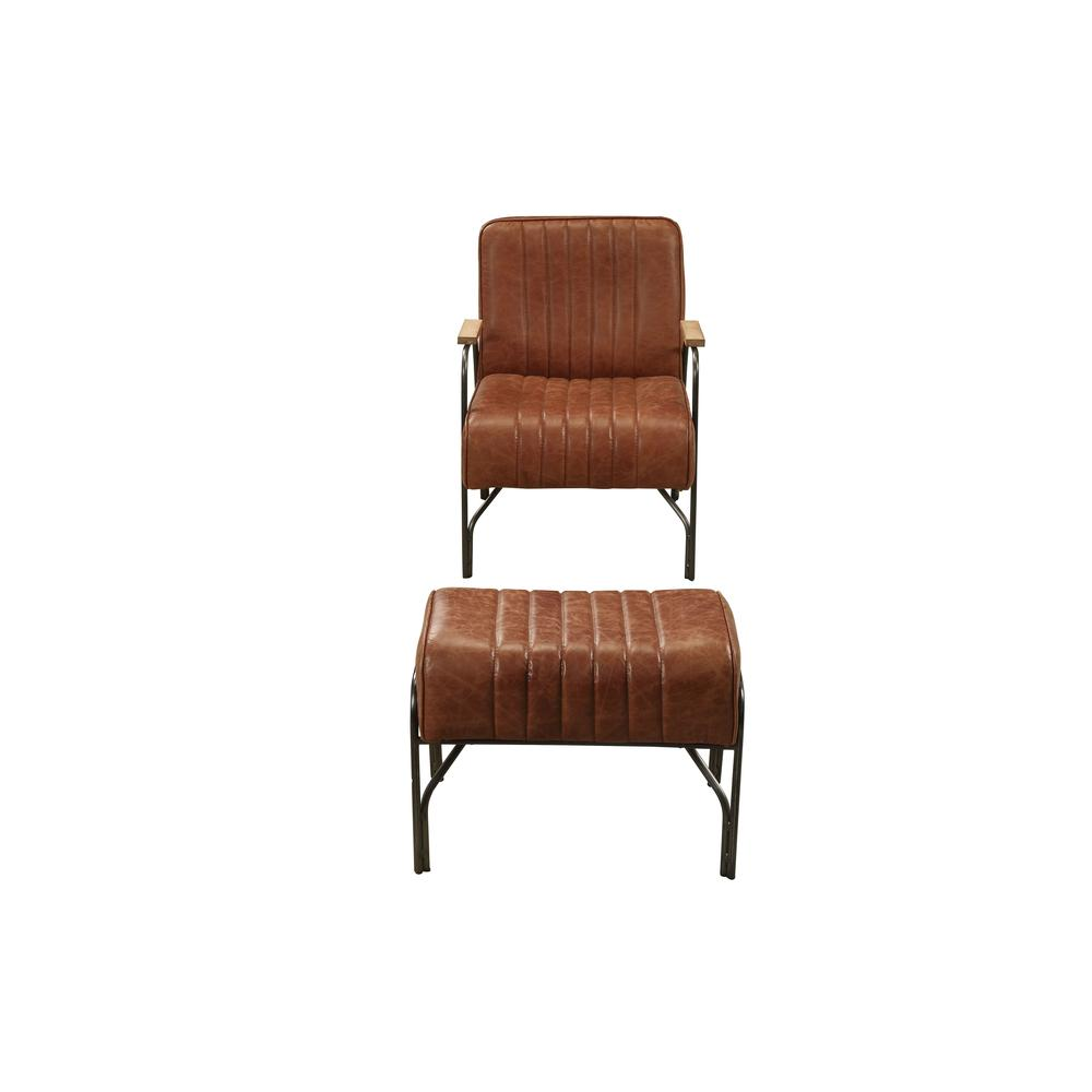 Sarahi 2Pc Pack Chair & Ottoman, Cocoa Top Grain Leather. Picture 2