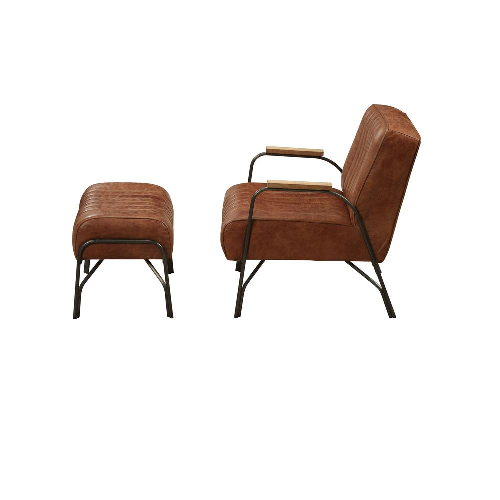 Sarahi 2Pc Pack Chair & Ottoman, Cocoa Top Grain Leather. Picture 3