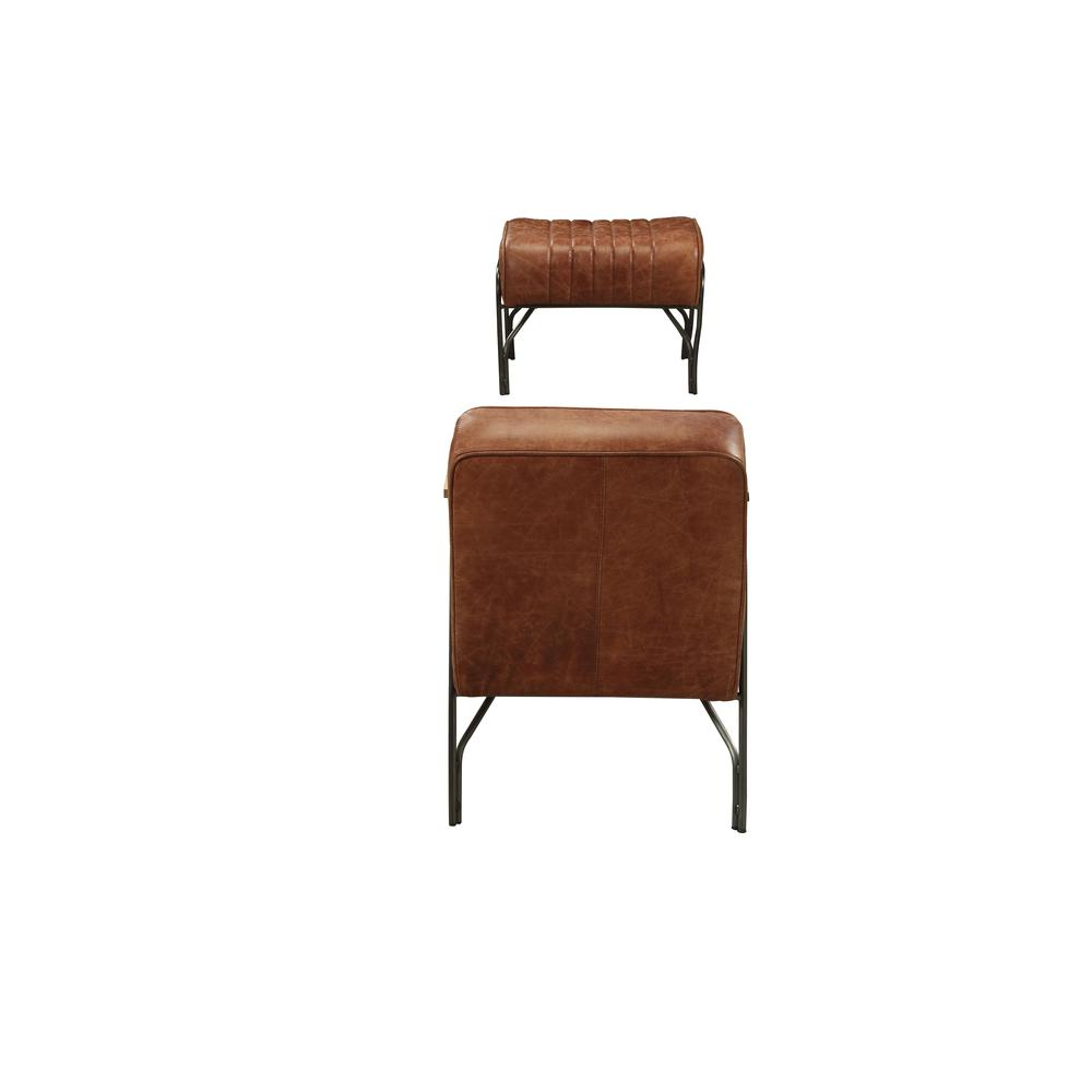 Sarahi 2Pc Pack Chair & Ottoman, Cocoa Top Grain Leather. Picture 4