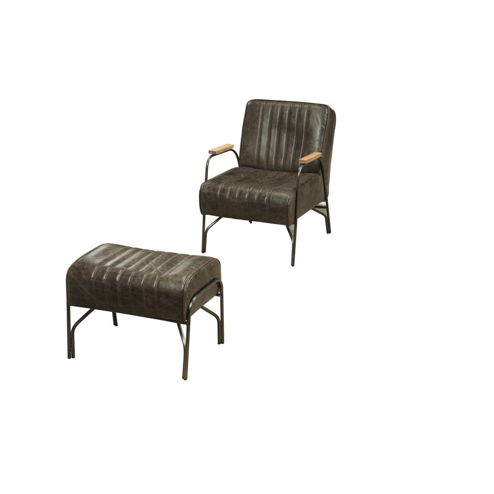 Sarahi 2Pc Pack Chair & Ottoman, Distress Espresso Top Grain Leather. Picture 1