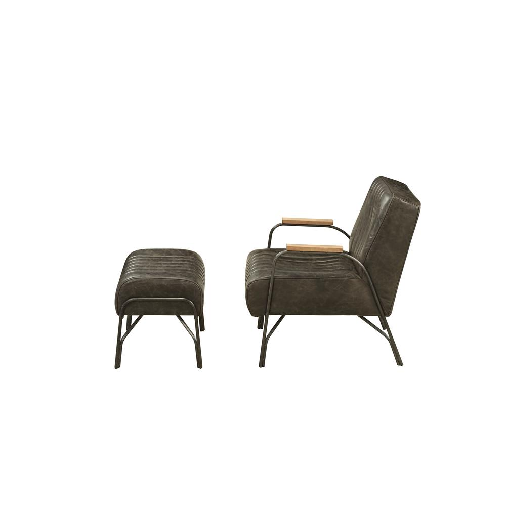 Sarahi 2Pc Pack Chair & Ottoman, Distress Espresso Top Grain Leather. Picture 3