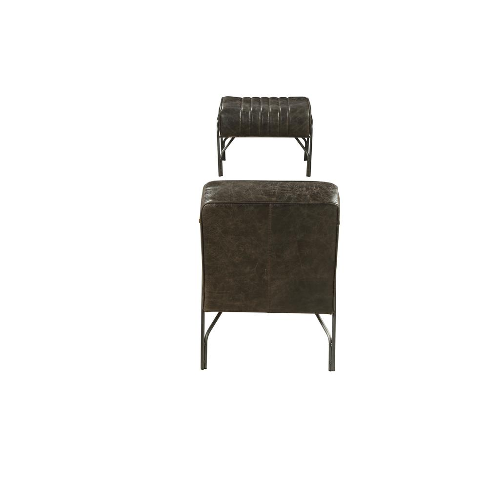 Sarahi 2Pc Pack Chair & Ottoman, Distress Espresso Top Grain Leather. Picture 4