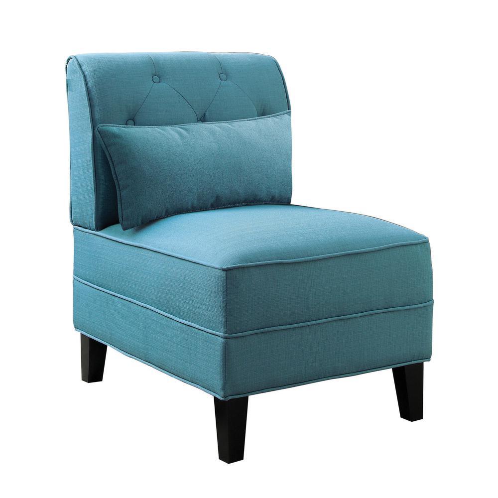 Susanna Accent Chair & Pillow, Blue Linen. Picture 2