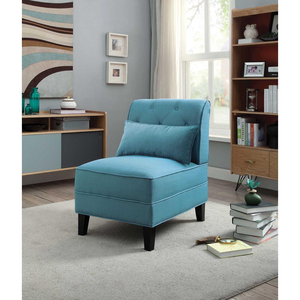 Susanna Accent Chair & Pillow, Blue Linen. Picture 3
