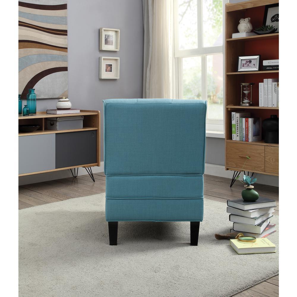 Susanna Accent Chair & Pillow, Blue Linen. Picture 4
