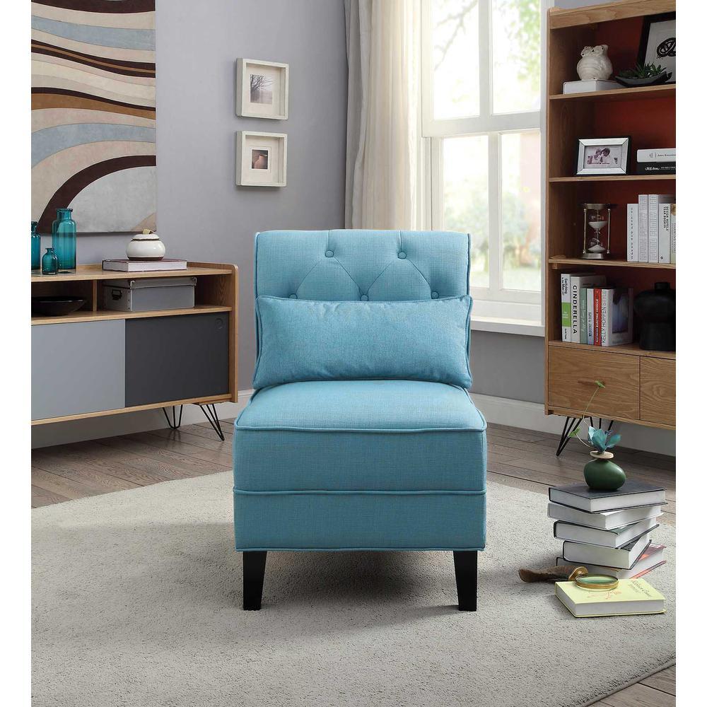 Susanna Accent Chair & Pillow, Blue Linen. Picture 5