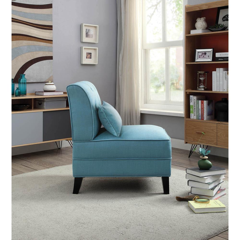 Susanna Accent Chair & Pillow, Blue Linen. Picture 6