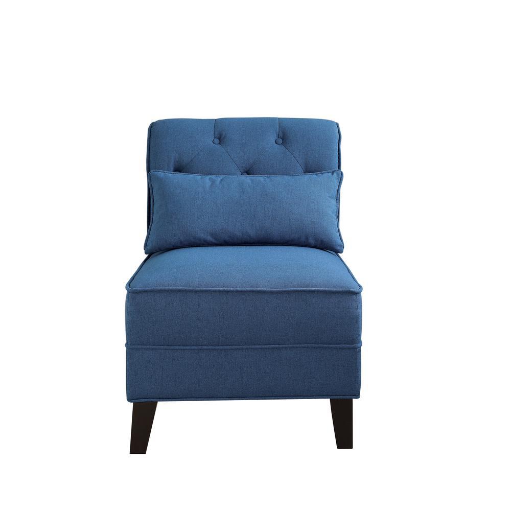 Susanna Accent Chair & Pillow, Blue Linen. Picture 19