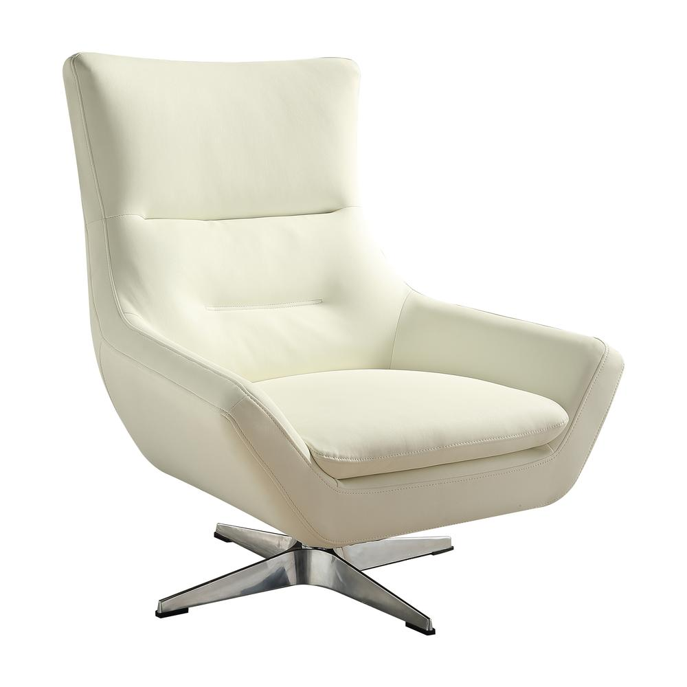 Eudora Accent Chair, White Leather Gel. Picture 1