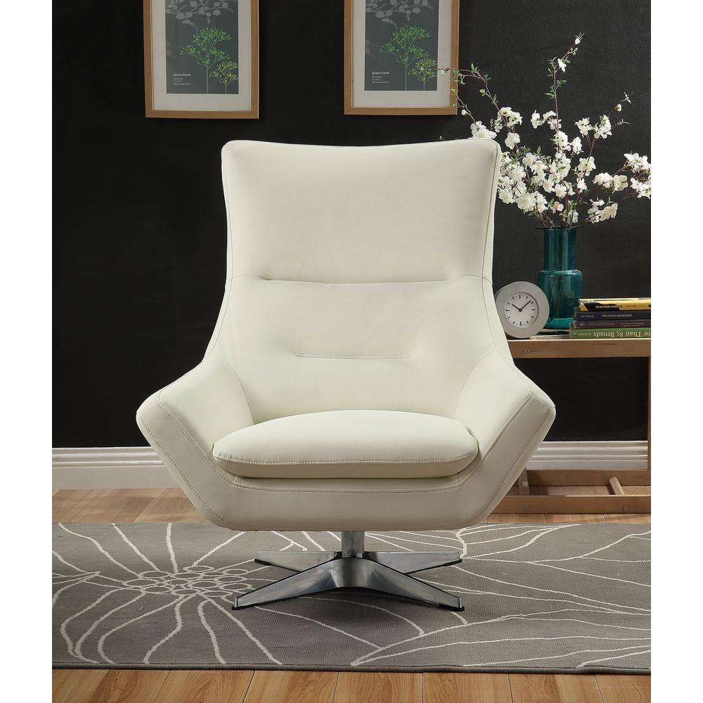 Eudora Accent Chair, White Leather Gel. Picture 2