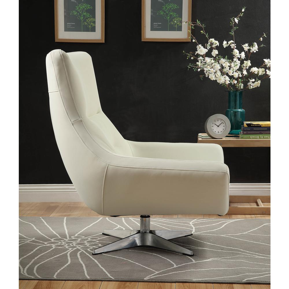 Eudora Accent Chair, White Leather Gel. Picture 3