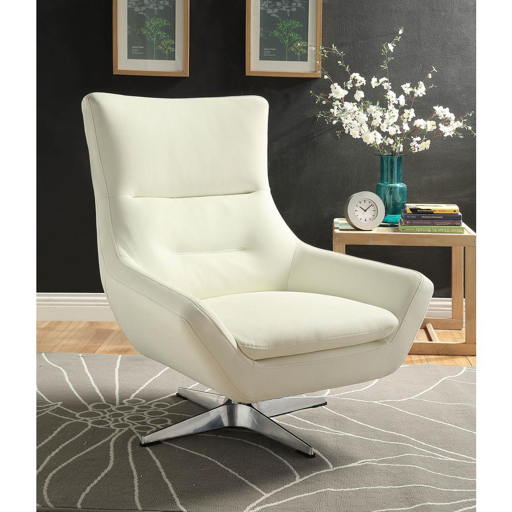 Eudora Accent Chair, White Leather Gel. Picture 5