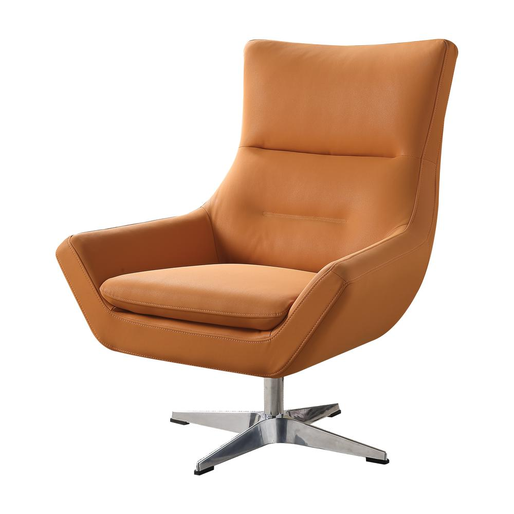 Eudora Accent Chair, Orange Leather Gel. The main picture.