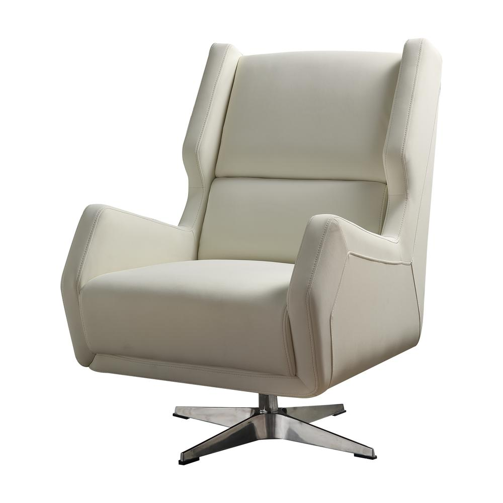Eudora II Accent Chair, White Leather Gel. Picture 1