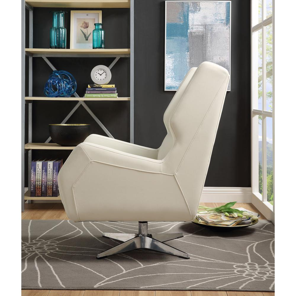 Eudora II Accent Chair, White Leather Gel. Picture 3