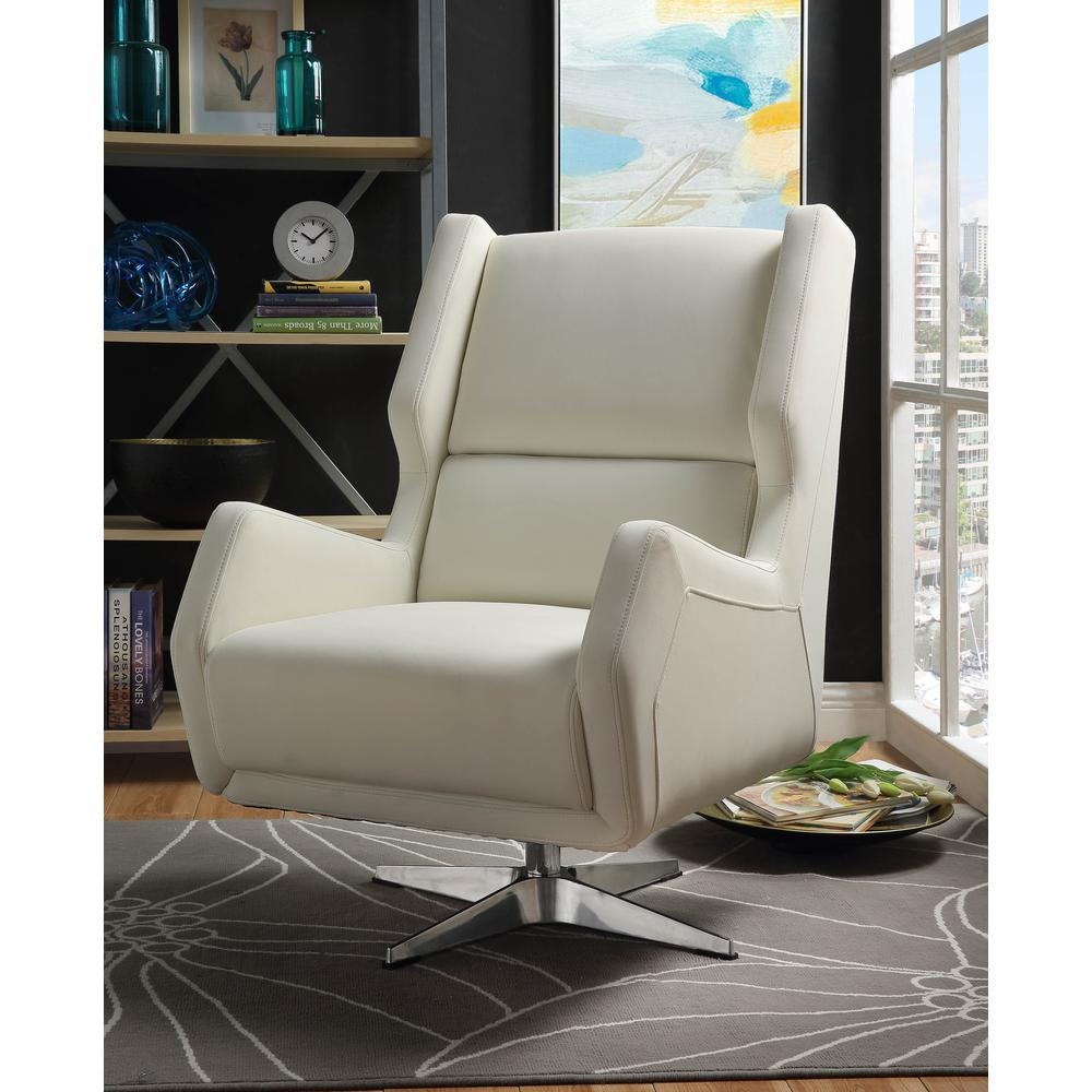 Eudora II Accent Chair, White Leather Gel. Picture 5