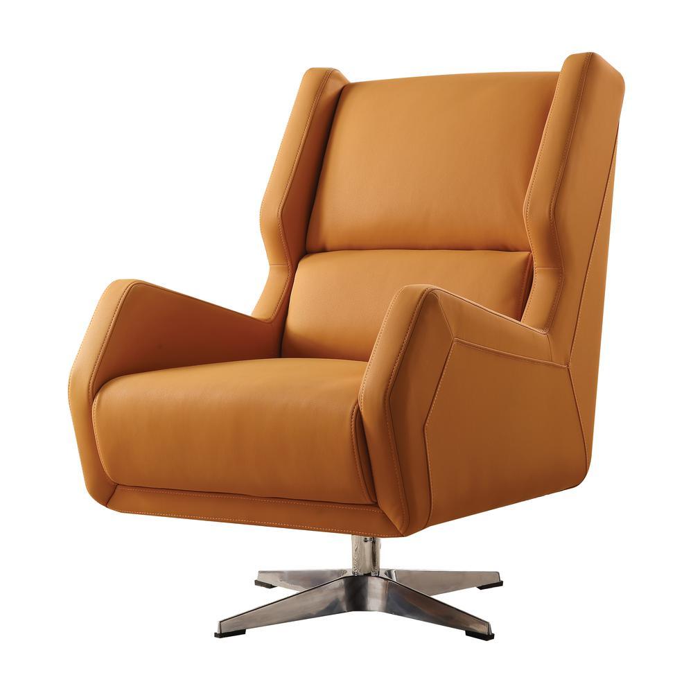 Eudora II Accent Chair, Orange Leather Gel. Picture 1