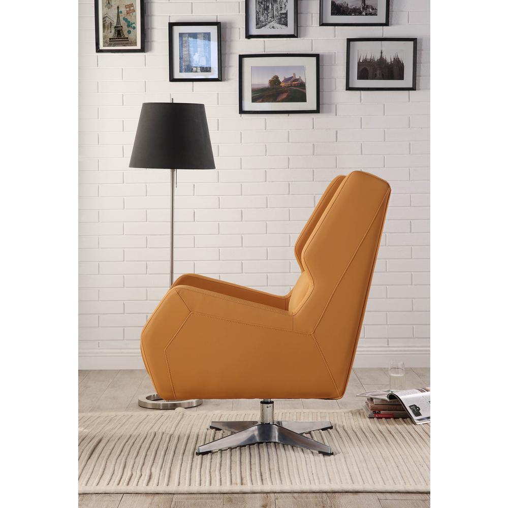 Eudora II Accent Chair, Orange Leather Gel. Picture 3