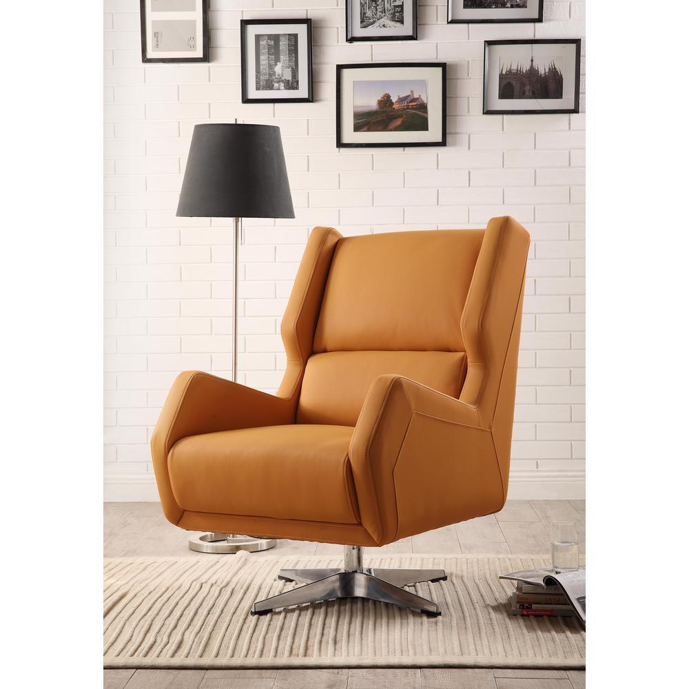 Eudora II Accent Chair, Orange Leather Gel. Picture 5