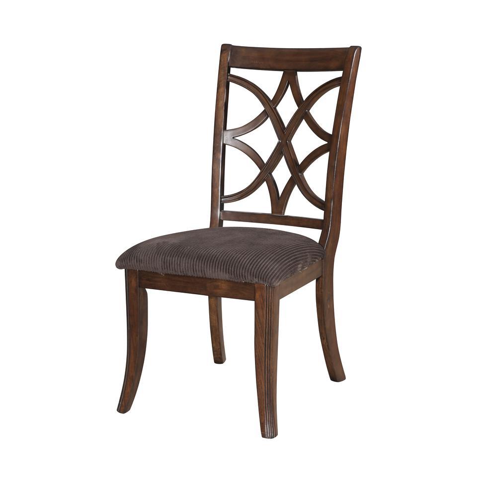 Keenan Side Chair (Set-2), Dark Walnut & Brown MFB. Picture 1