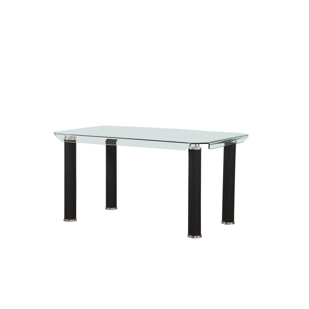 Gordie Dining Table, Black & Clear Glass (1Set/2Ctn). Picture 1