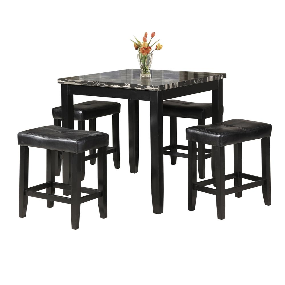 Blythe 5Pc Pack Counter Height Set, Faux Marble & Black. Picture 1