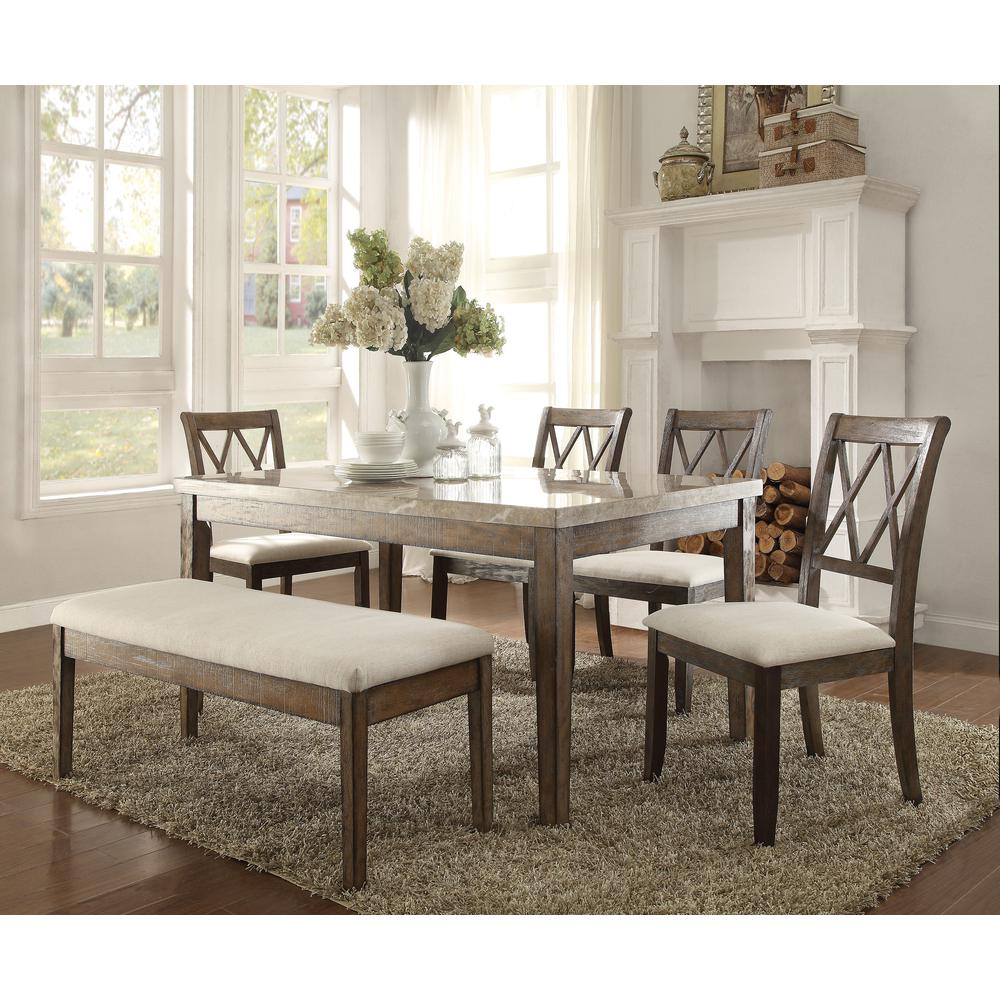 Claudia Dining Table, White Marble & Salvage Brown. Picture 1