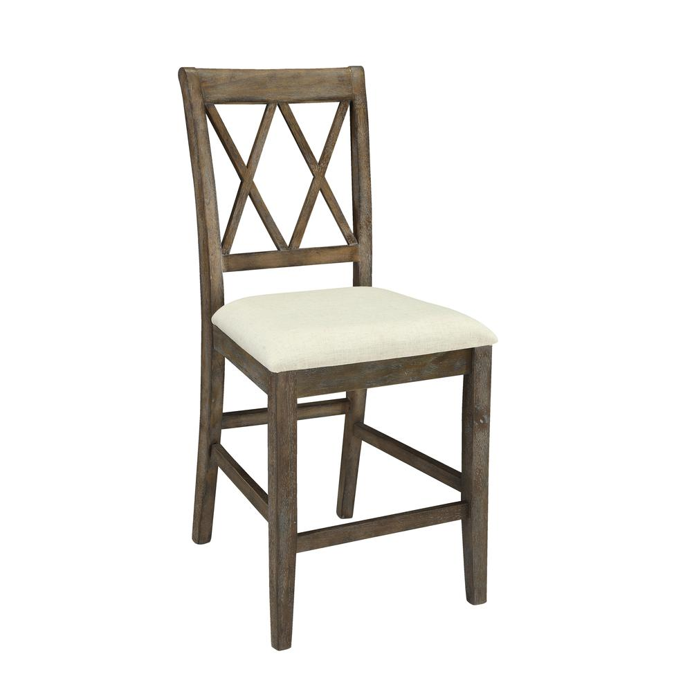 Claudia Side Chair (Set-2), Beige Linen & Salvage Brown. Picture 2