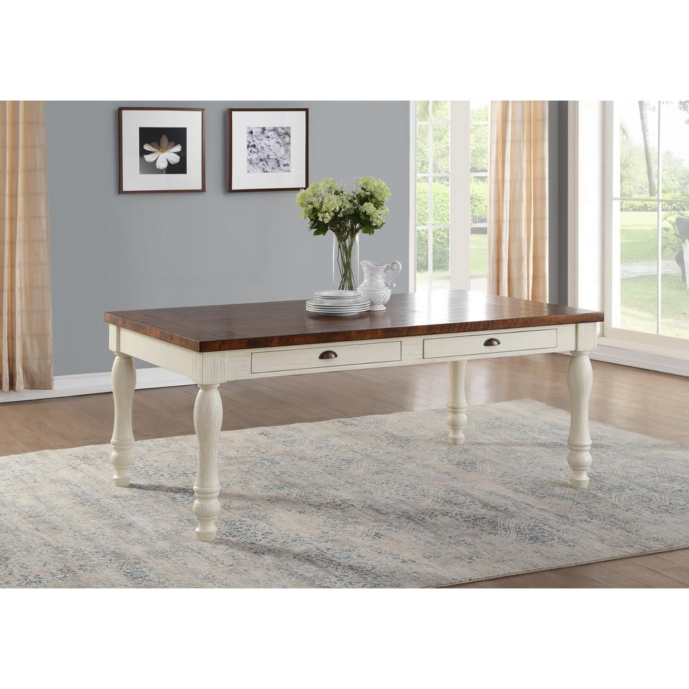 Britta Dining Table, Walnut & White Washed. Picture 1
