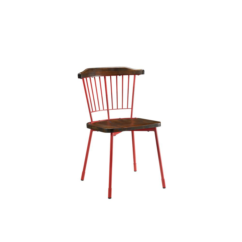 Orien Side Chair (Set-2), Red & Brown Oak. Picture 1