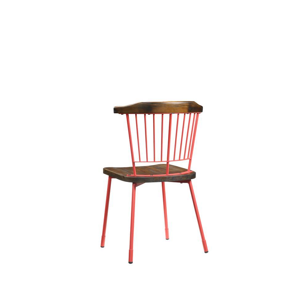 Orien Side Chair (Set-2), Red & Brown Oak. Picture 3