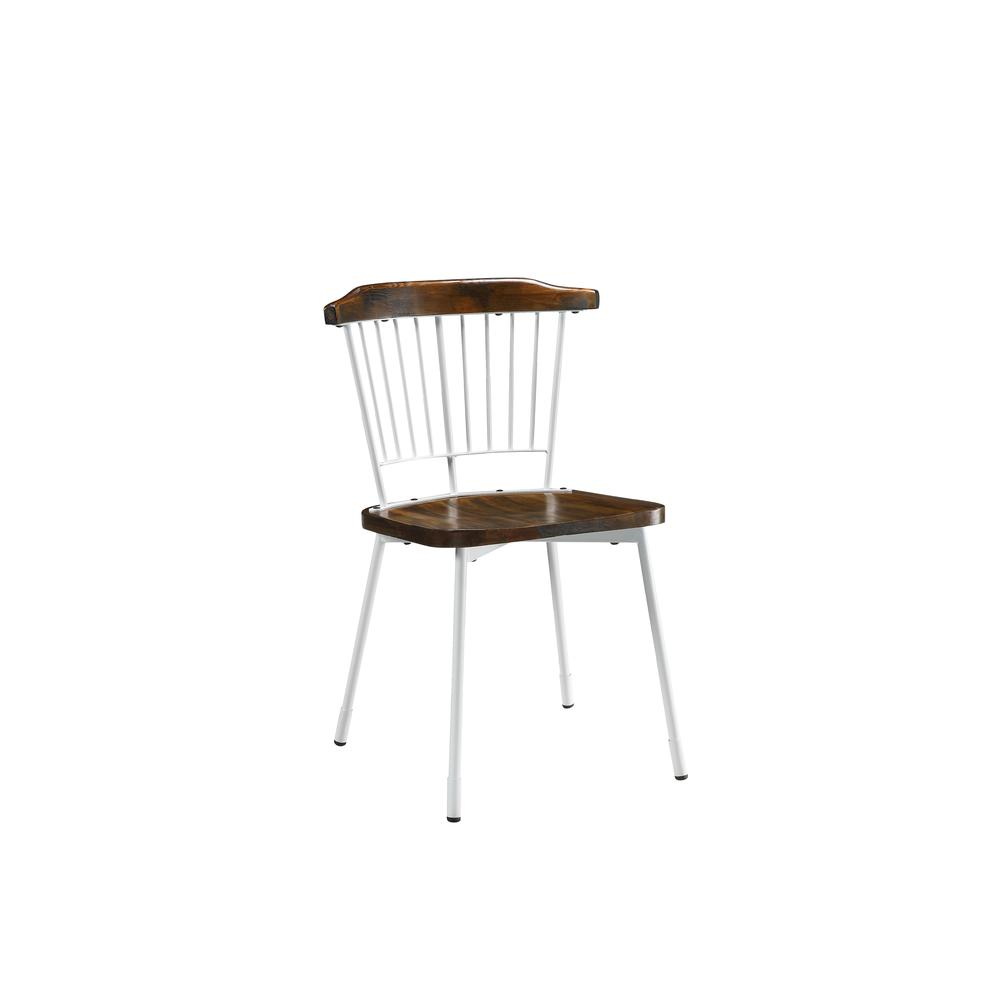 Orien Side Chair (Set-2), White & Brown Oak. Picture 1