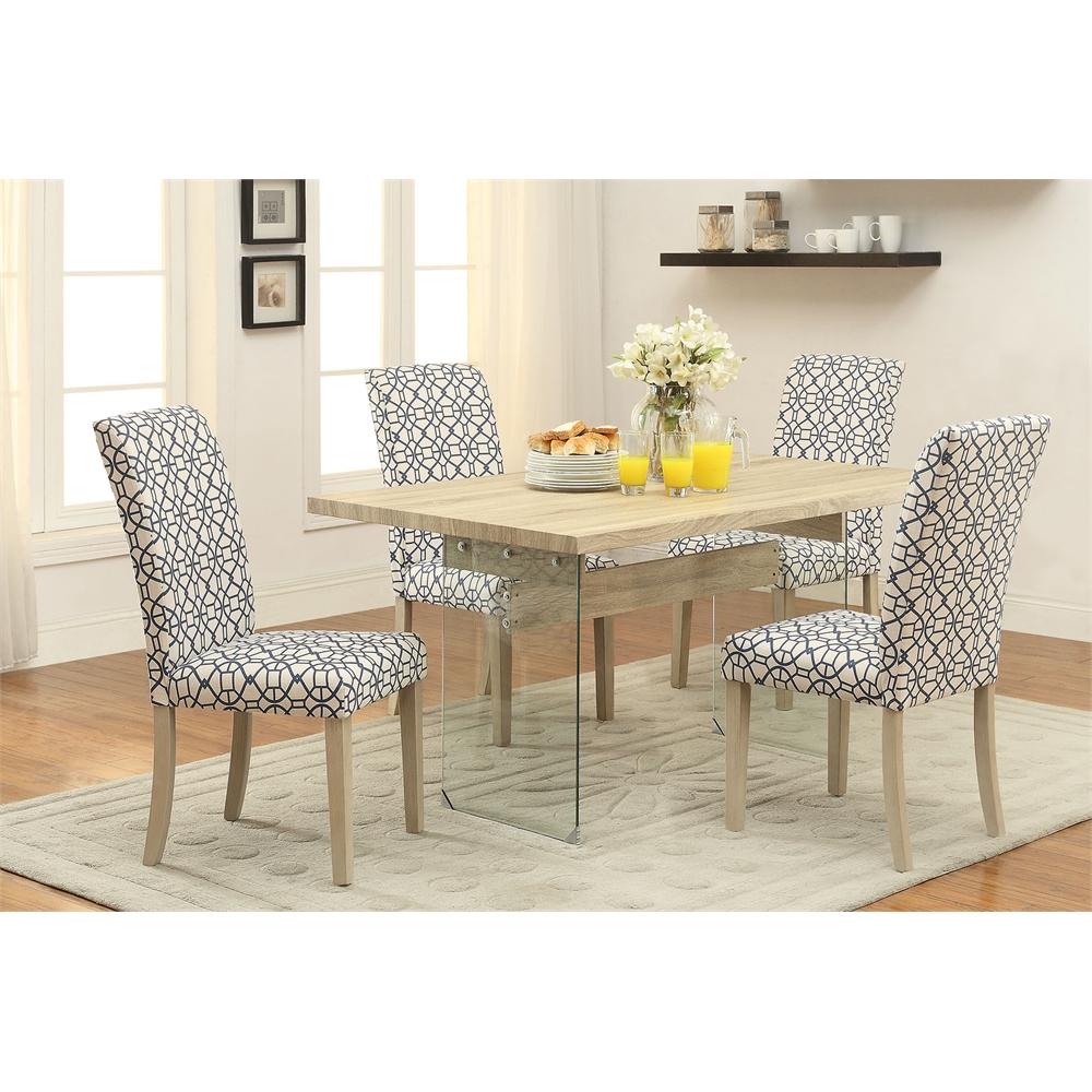 Glassden side chair set 2 blue light oak - Light blue dining table ...